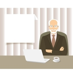 Businessman sitting at the office desk vector