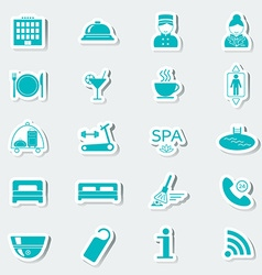 Hotel services icons stickers blue vector