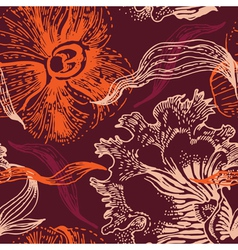 seamless floral pattern with orchid vector image