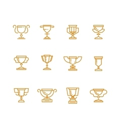 Trophy cup line icons set vector