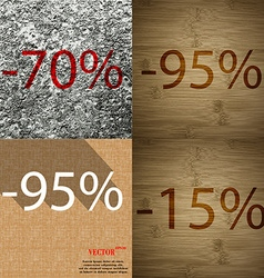 95 15 icon set of percent discount on abstract vector
