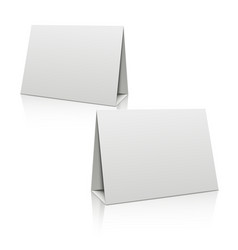Blank white paper stand table holder card 3D vector image