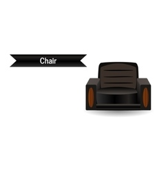 The black leather chair vector