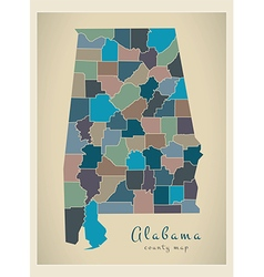 Alabama county map coloured vector