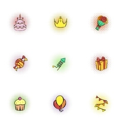 Birthday icons set pop-art style vector
