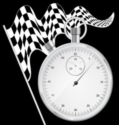 Black background with checkered flag and stopwatch vector image