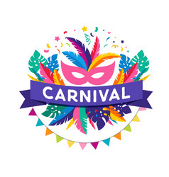 Brazilian carnival banner with colorful elements vector