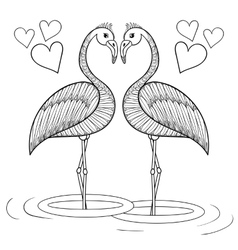 Coloring page with flamingo birds in love vector