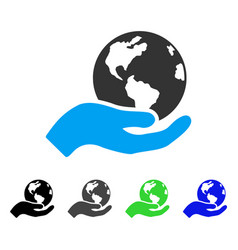 Earth care flat icon vector