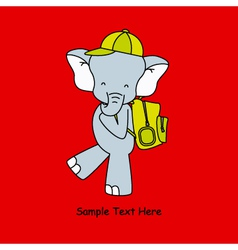 elephant goes to school with backpack vector image vector image