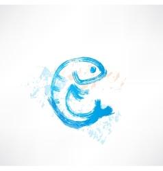 Fish blue grunge icon vector
