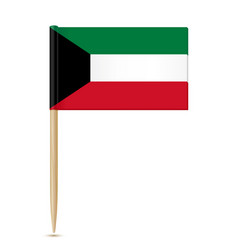 Flag of kuwait flag toothpick on white background vector