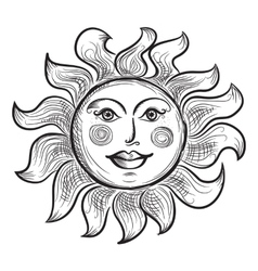 Hand drawn sun symbol vector