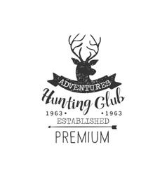 Hunting adventures vintage emblem vector