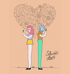 Internet love on social media concept design vector