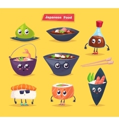 Japanese food soy sauce and sushi roll vector