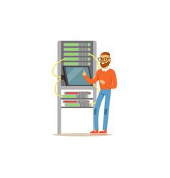 Network engineer administrator working in data vector