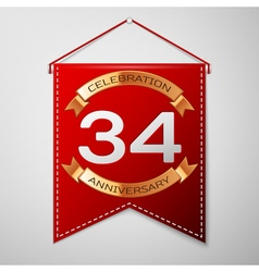Red pennant with inscription thirty four years vector