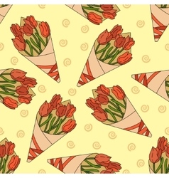 Seamless pattern with a bouquet of tulips vector image vector image