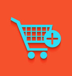 Shopping cart with add mark sign whitish vector