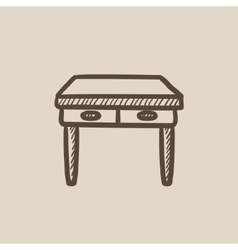 Table with drawers sketch icon vector image vector image