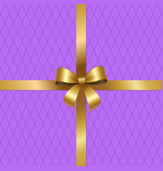 tied gold bow on crossed ribbons center of vector image vector image