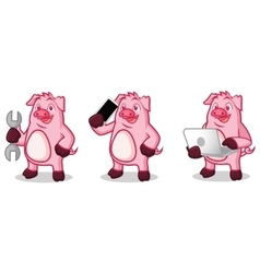 Violet Pig Mascot with laptop vector image