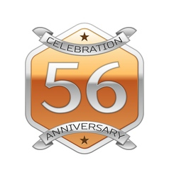 Fifty six years anniversary celebration silver vector image