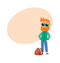 Red haired man tourist in sunglasses standing vector