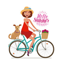 Beautiful girl on bike perfect getaway vacation vector