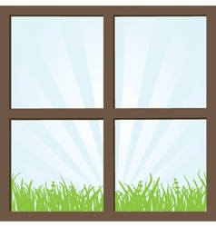 Summer field and mountains seen through the window vector