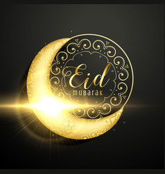Golden moon with floral decoration for eid vector