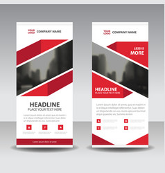 Red abstract business roll up banner flat vector
