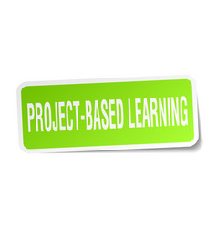 Project-based learning square sticker on white vector