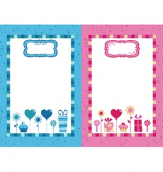 Blue and pink party frames vector
