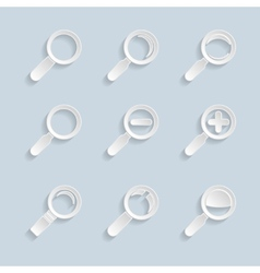 Paper magnifier glass icons vector