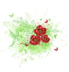Background with red flowers and bird vector