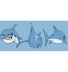 Cartoon angry shark front and rear vector