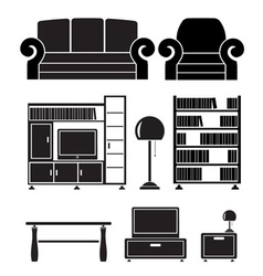 Living room furniture vector