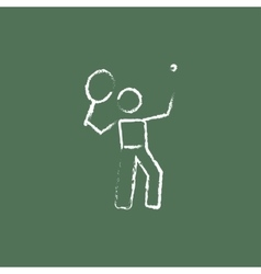 Tennis player icon drawn in chalk vector