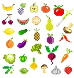 Pixel art fruit and vegetables on white vector