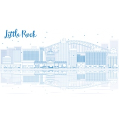 Outline little rock skyline with blue buildings vector