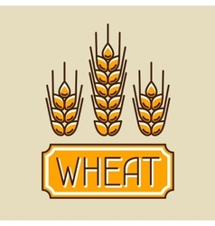 Emblem with wheat agricultural image natural vector
