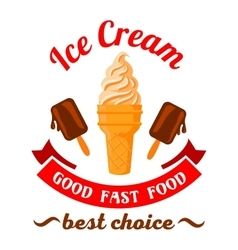 Fast food desserts cartoon symbol with ice cream vector image
