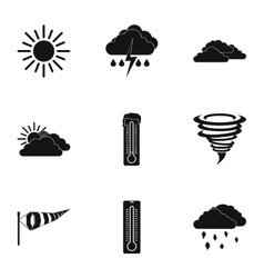 Air temperature icons set simple style vector