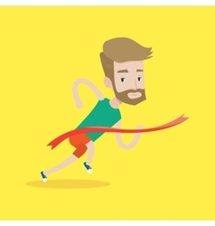 Athlete crossing finish line vector image vector image