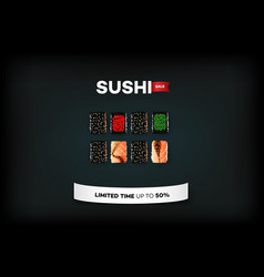 Background with set of different sushi vector