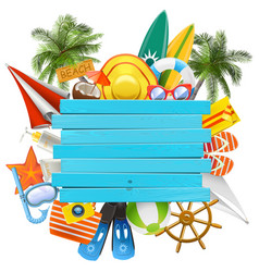 beach accessories with wooden plank vector image vector image