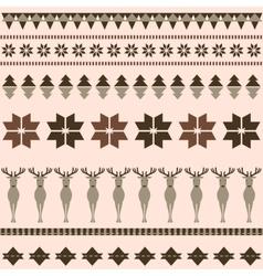 Brown winter ornamental pattern with deer vector image vector image
