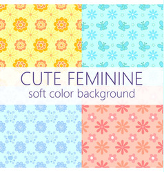 cute feminine soft color background pattern set vector image vector image